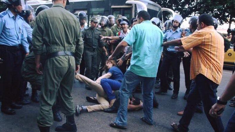 Arrestation de manifestant à Rabat