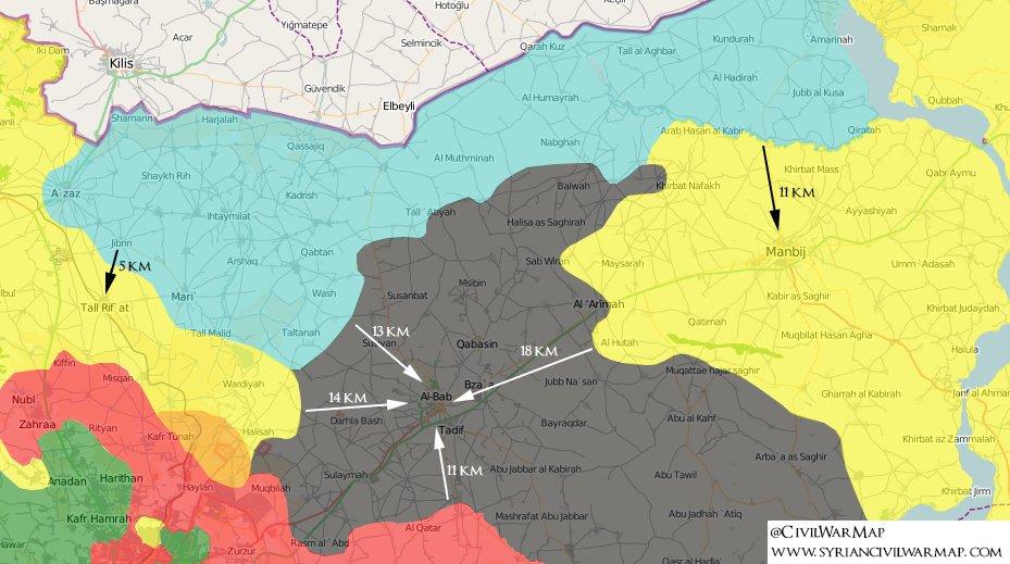 Fateh Halab en bleu, QSD en jaune, Daesh en noir, le régime en rouge