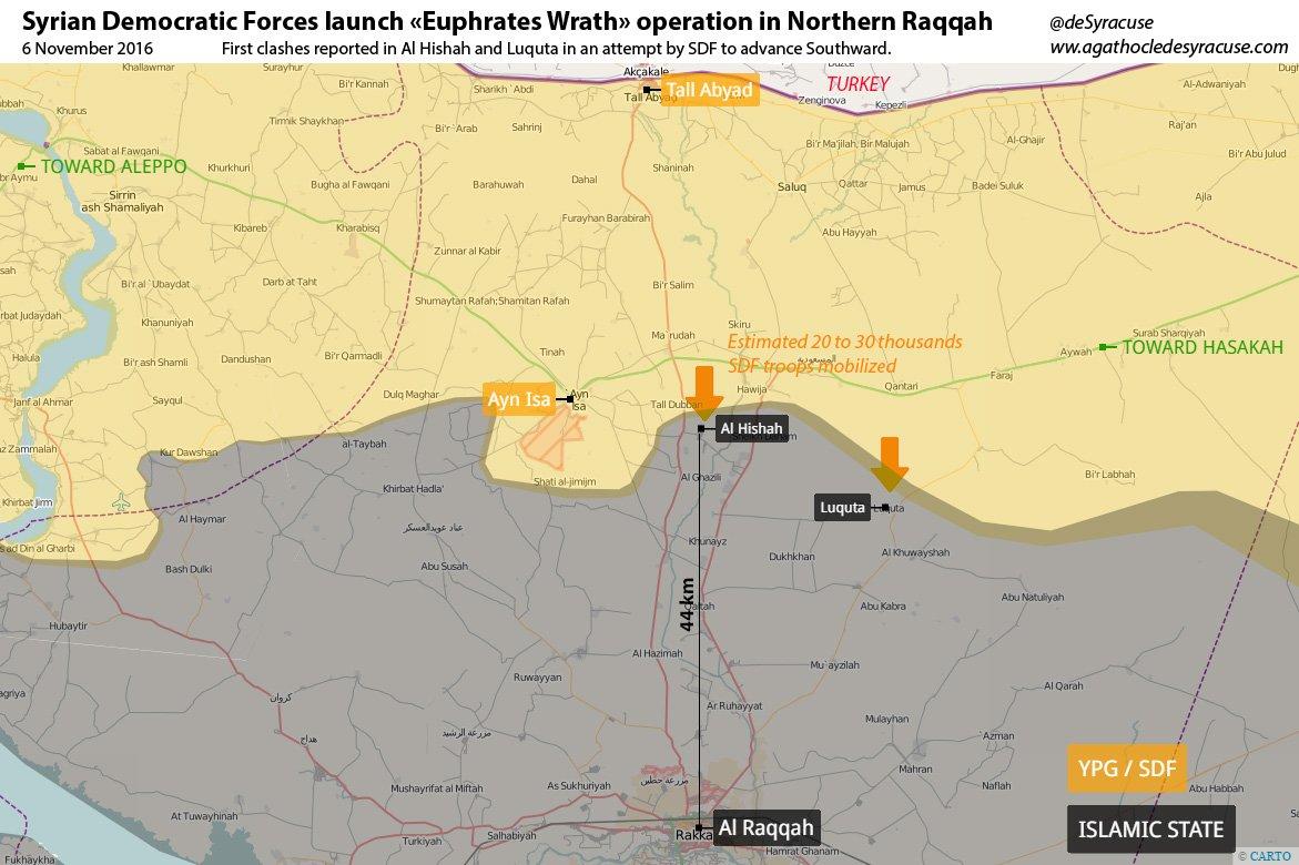 Situation dans la province de Raqqah au 6 novembre 2016