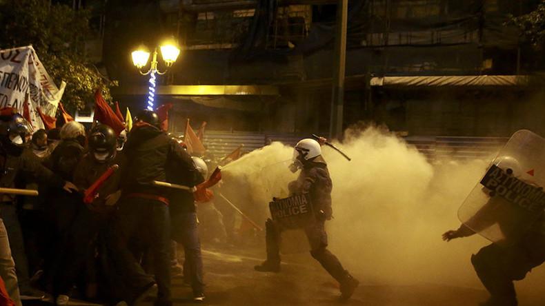 Les affrontements hier à Athènes