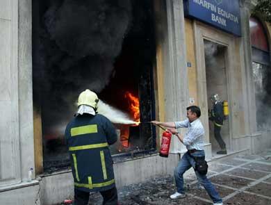L'incendie à la banque Marfin