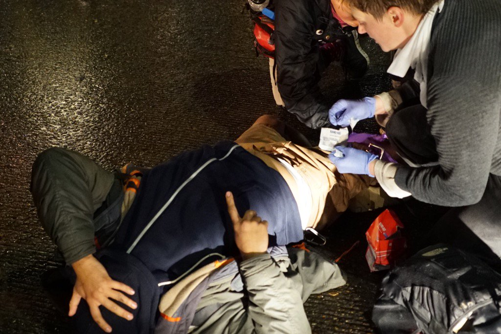 Le manifestant blessé