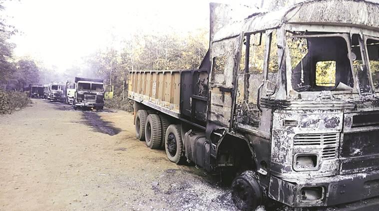 Les camions incendiés de la Surjagad Lloyd Metal