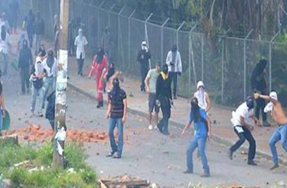 Les affrontements à l'université de Tolima