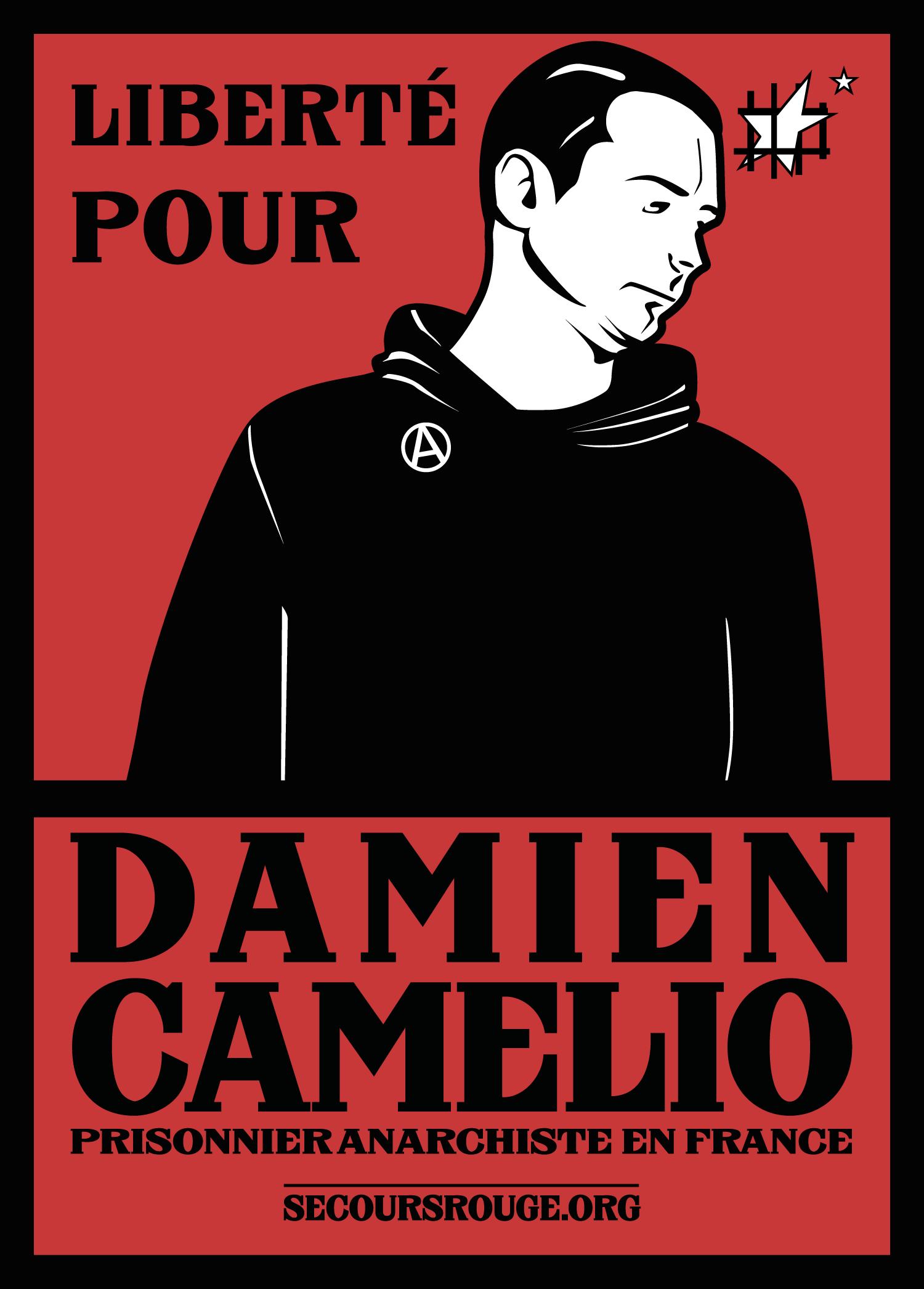 Un sticker solidaire publié lors de la première détention de Damien
