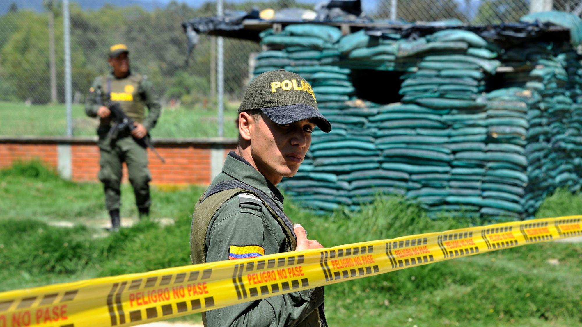 Le lieu de l'attaque, à Torca (Bogota)
