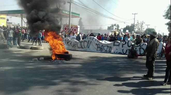 Blocage sur la route Texcoco-Lechería, Etat de Mexico