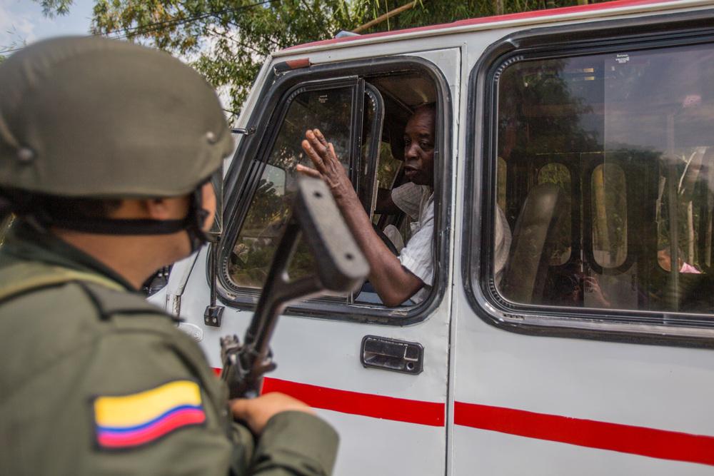 Barrage routier de l'armée colombienne