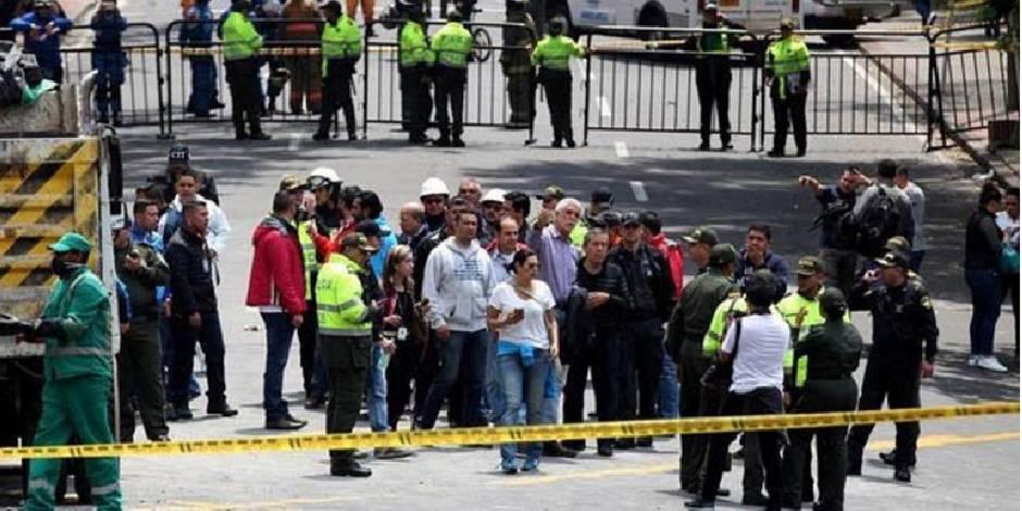 Les lieux de l'explosion à Bogota