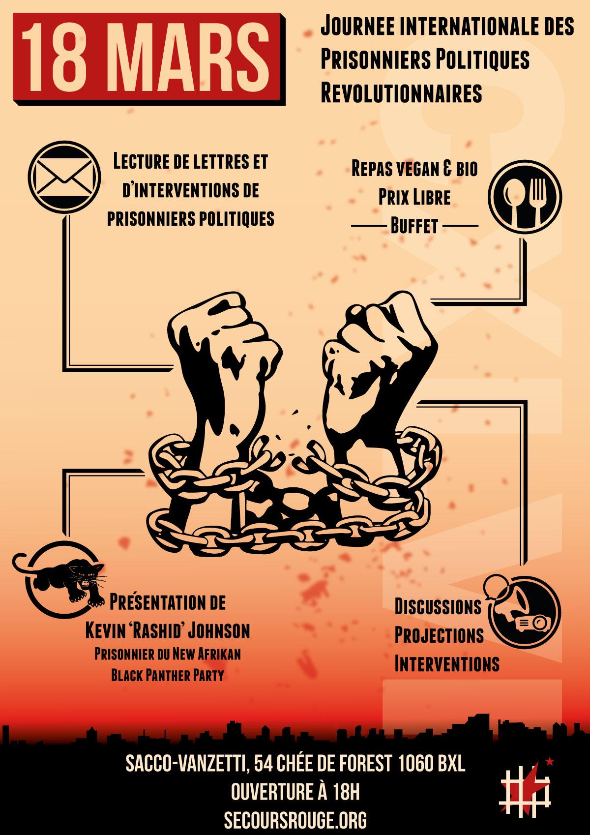 Bruxelles : Soirée de soutien aux prisonniers politiques révolutionnaires ce 18 mars