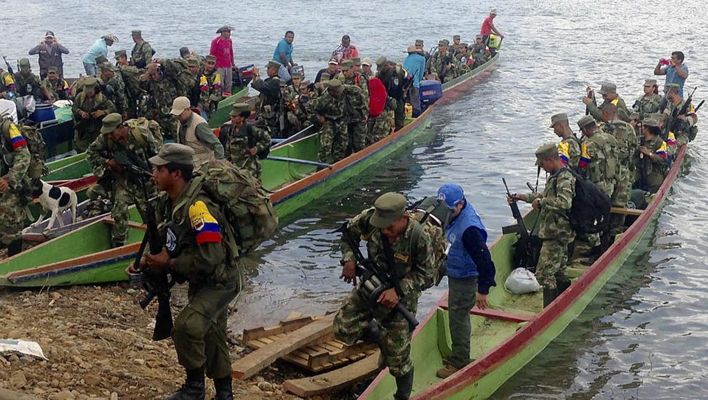 Des membres des FARC sur le point de rendre les armes à Gallo, dans le département de Córdoba, le 1er février