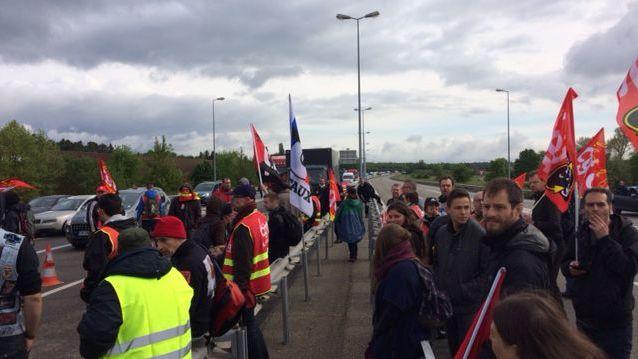 La zone industrielle de Haguenau bloquée par une manifestation contre la loi Travail le 19 mai 2016