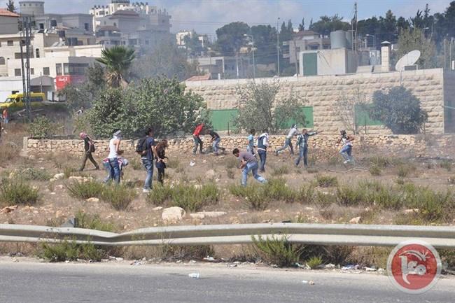 Les manifestants palestiniens pendant les affrontements