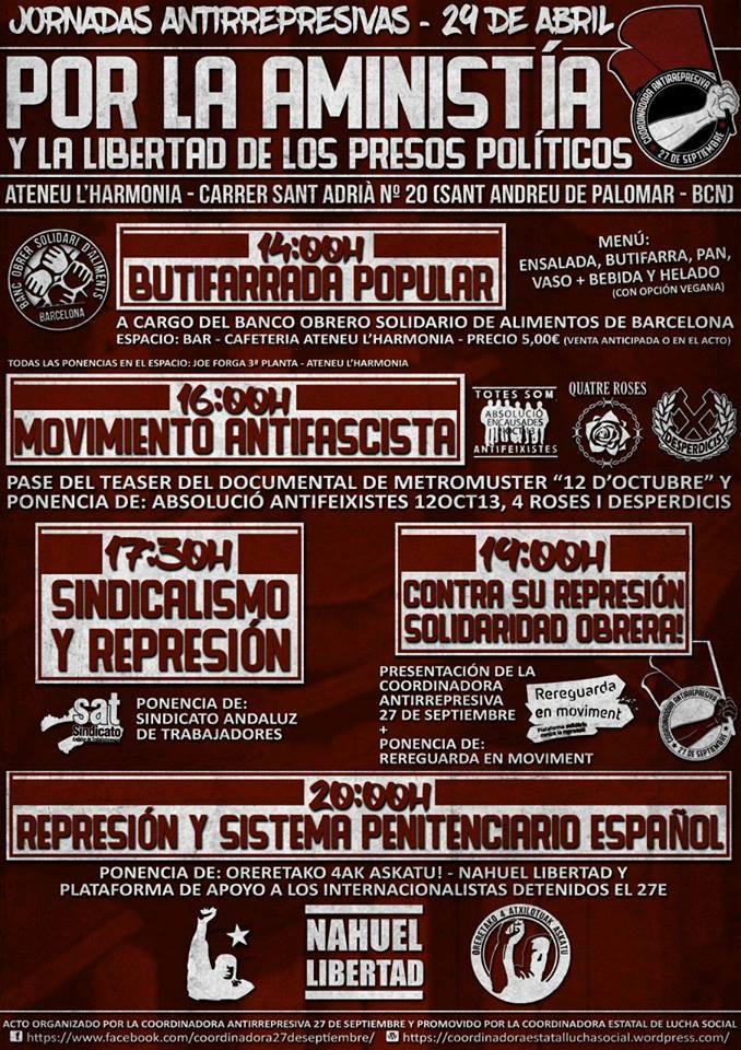 Barcelone : Journée contre la répression et pour l'amnestie