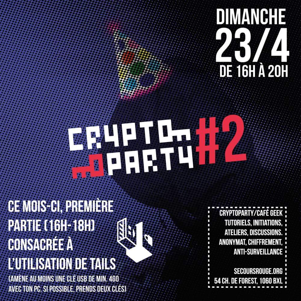 Cryptoparty ce dimanche 24 avril