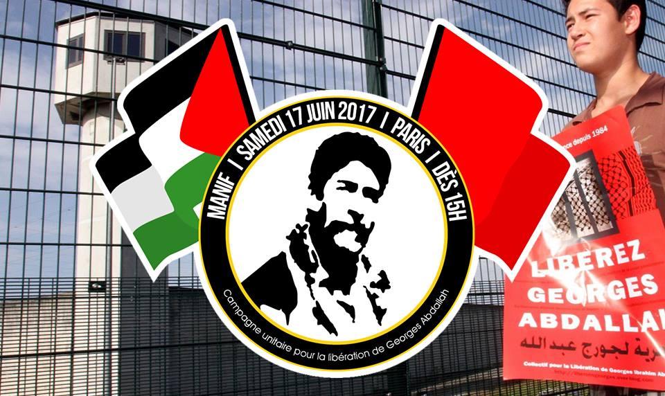 Manifestation pour la libération de Georges Abdallah ce 17 juin