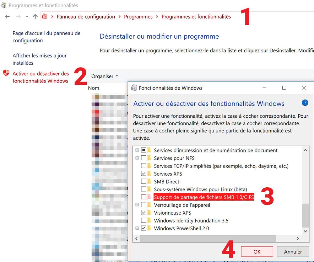 Désactivation du service SMB dans Windows.