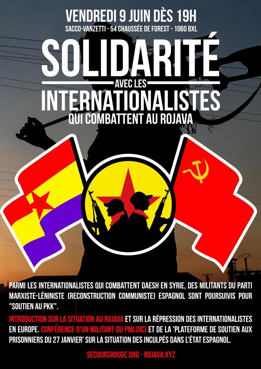 Soirée de soutien aux internationalistes espagnols réprimés pour leur engagement au Rojava
