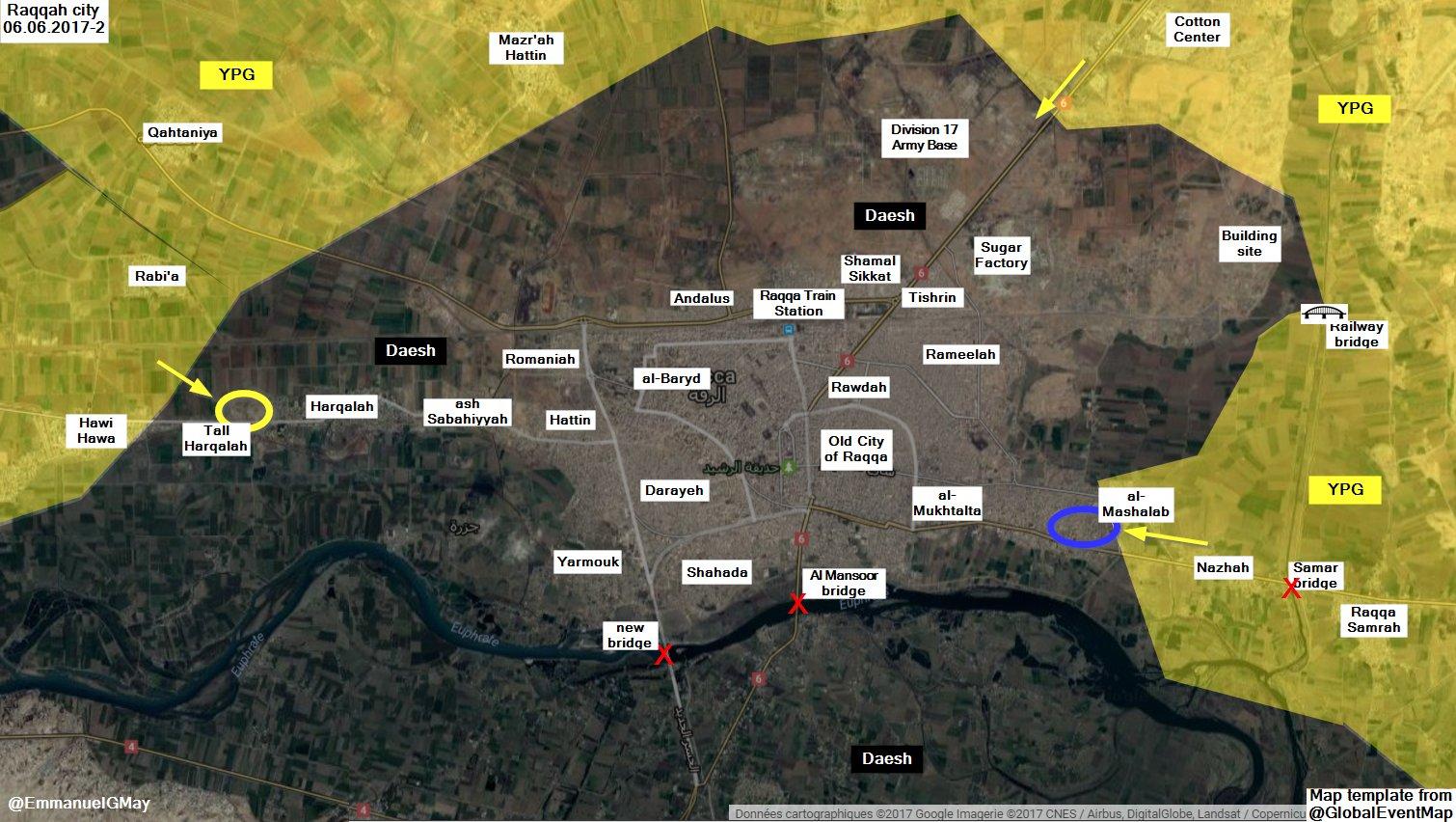Situation à Raqqa ce 6 juin au soir.
