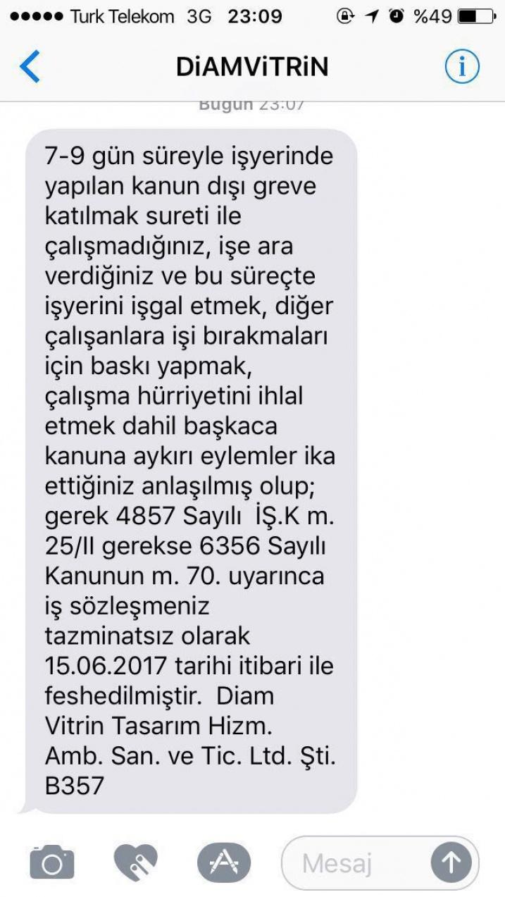 Le SMS reçu par les travailleurs en lutte de DIAM