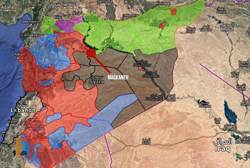 A Meskaneh (gros point rouge), l'isolement de Daesh est scellé.