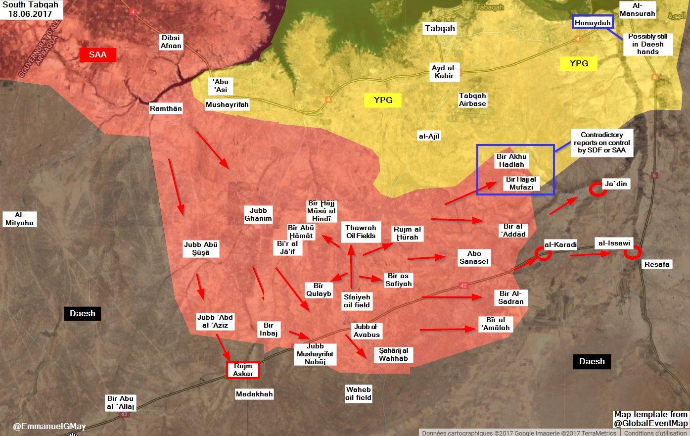 Situation au sud de Tabqa au 18 juin.
