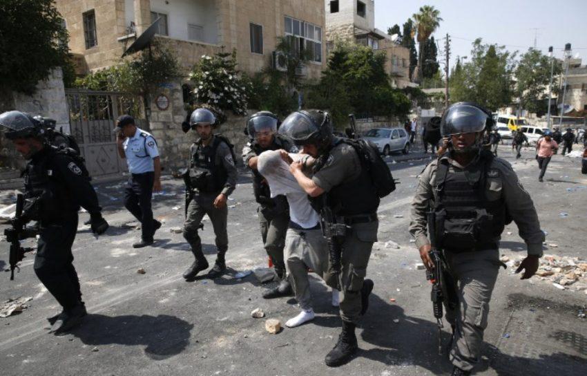 Arrestation d'un manifestant palestinien