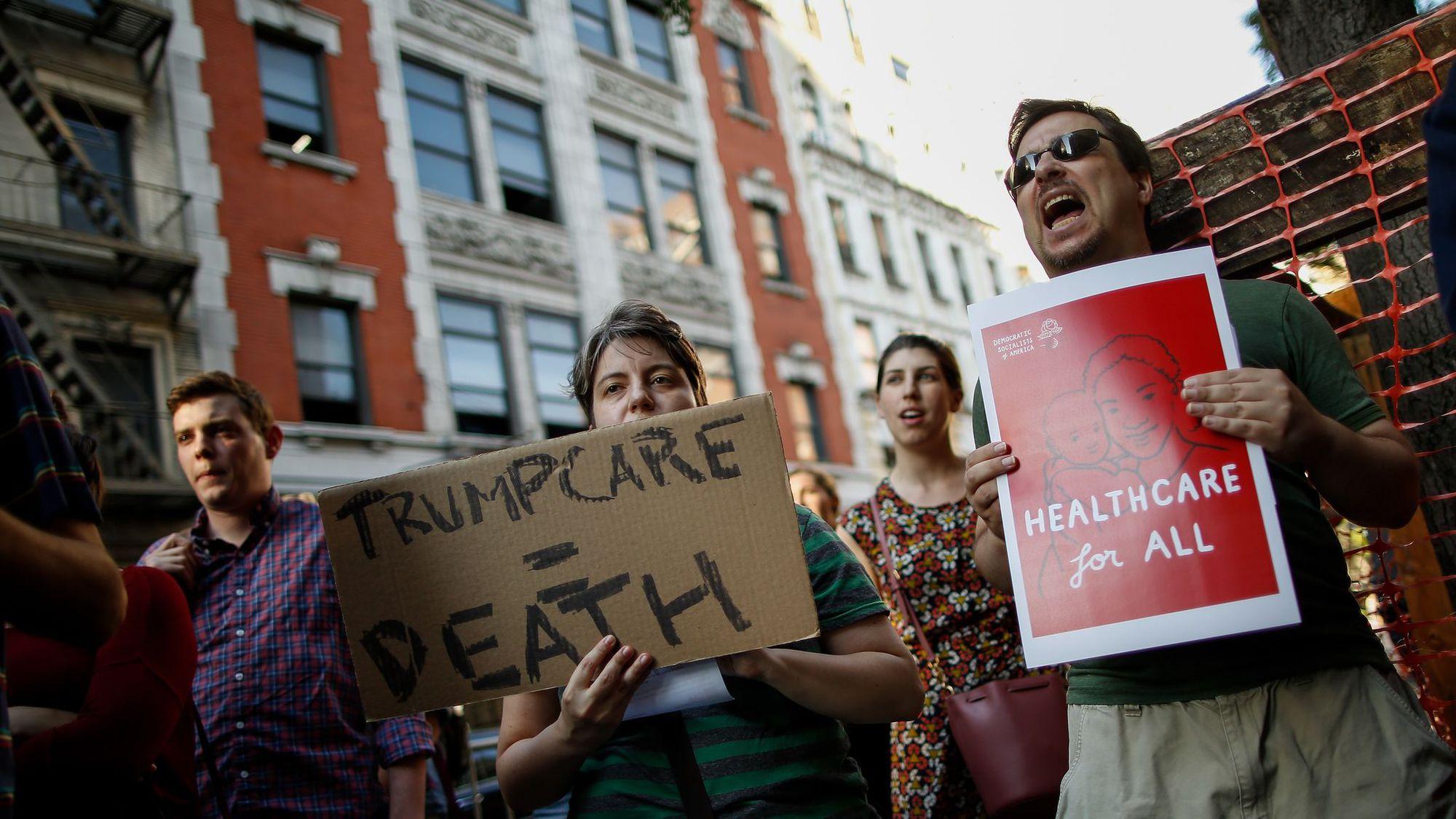 Manifestants défenseurs de l'obamacare