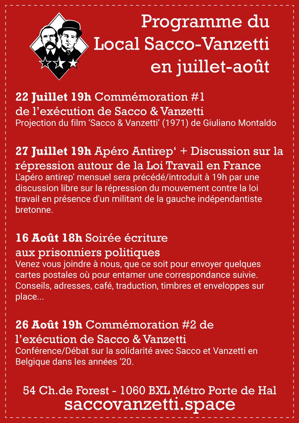 Programme du Sacco-Vanzetti en juillet-août