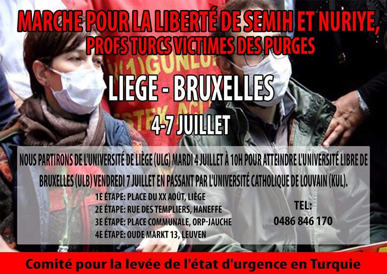 Marche de Liège à Bruxelles pour Semih et Nuriye
