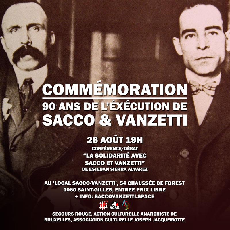 Ce samedi 26 août, conférence sur la solidarité avec Sacco & Vanzetti dans les années '20 en Belgique