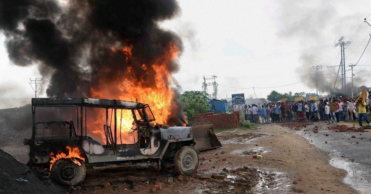 Voiture de police incendiée à Patna