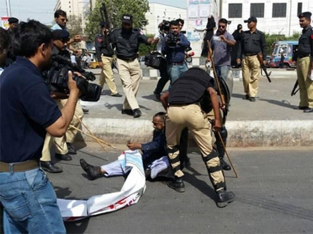 Enseignant arrêté lors de la manifestation à Karachi