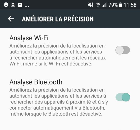 "L'option ""Always allow scanning"" sur le Galaxy S7"