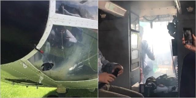 L'impact de la fusée (à gauche), son effet lors du vol (à droite)
