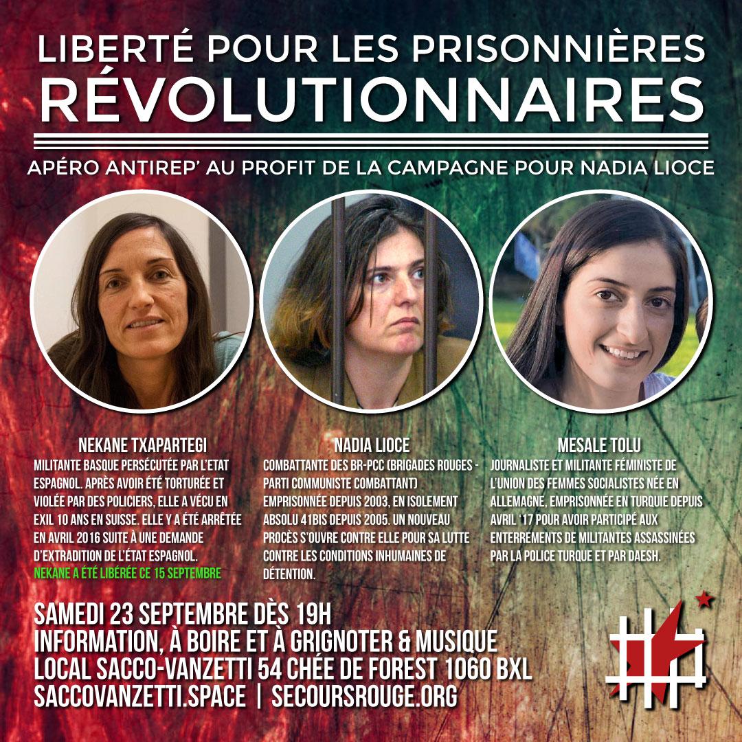 Liberté pour Nekane, Nadia et Mesale!