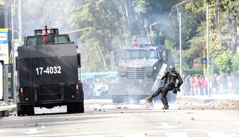 Les affrontements devant l'UPTC, à  Tunja
