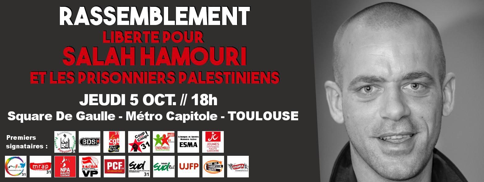 Rassemblement pour la libération de Salah Hamouri à Toulouse.
