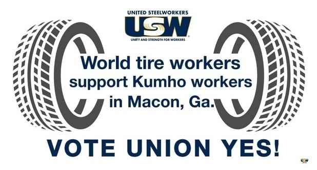 Affiche de soutien au vote pour un syndicat à Kumho
