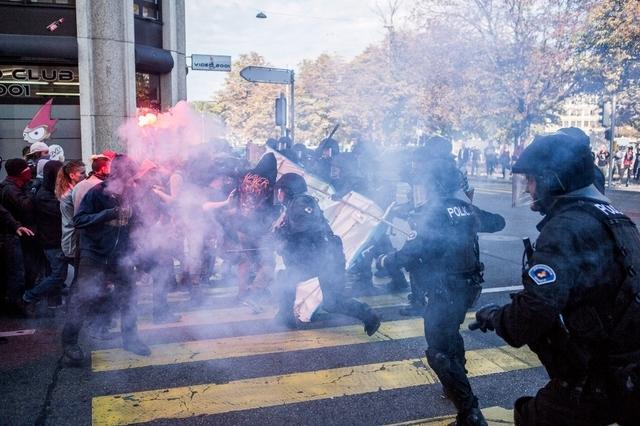 La manifestation de 2014 contre le bicentenaire de la police.