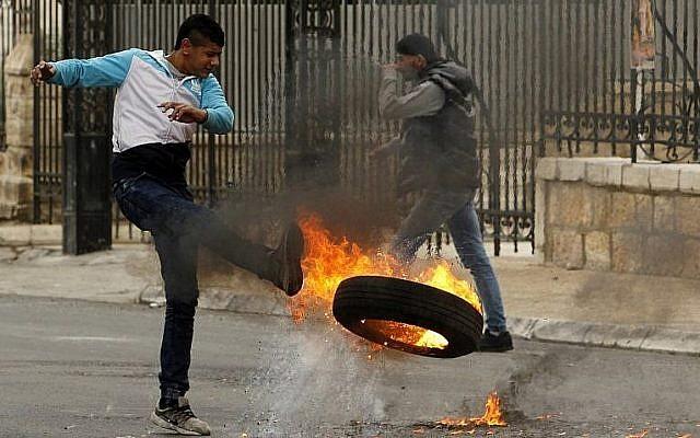Manifestants palestinien vendredi à Bethléem