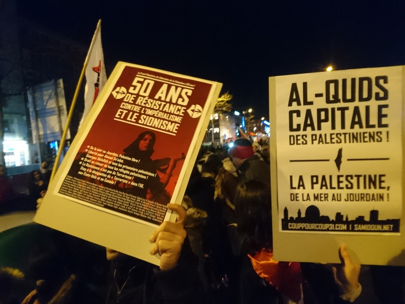 Coup Pour Coup 31 manifestait son soutien au FPLP et à la solution d'une Palestine libre de la mer au Jourdain.