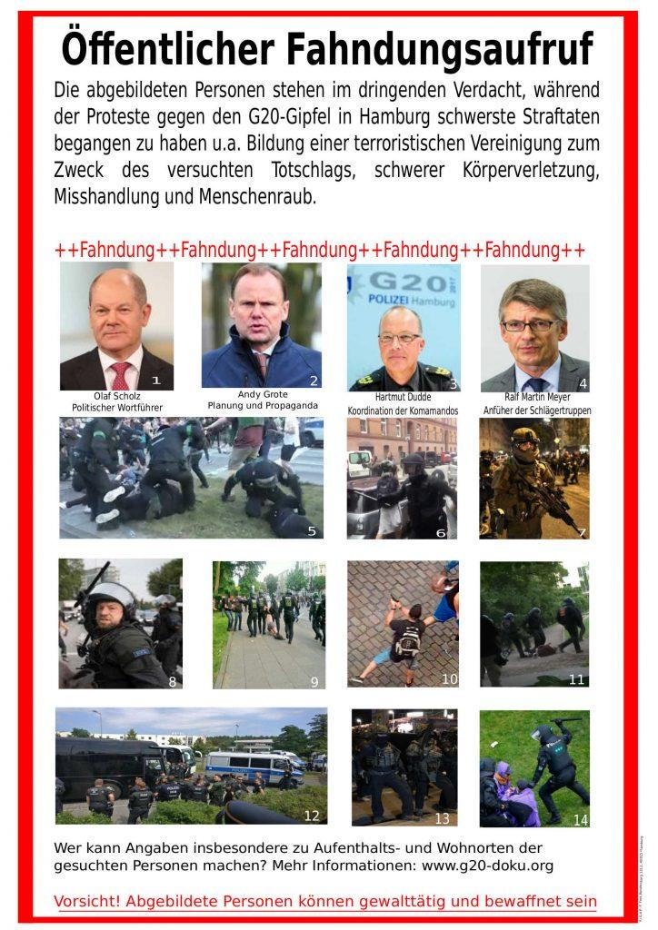 Avis de recherche contre... les principaux acteurs de la répression du NoG20