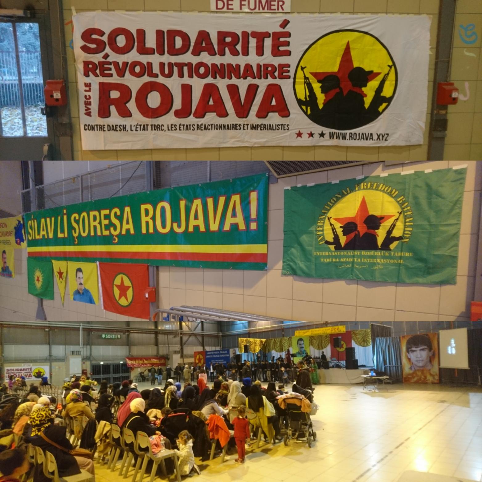 Banderole et drapeau en soutien au Bataillon International de Libération sont déployés.