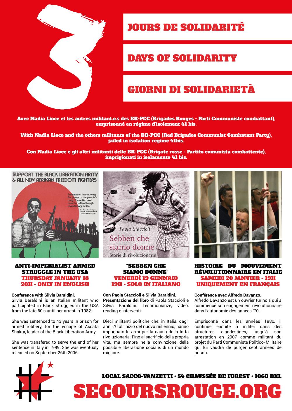 Week-end de solidarité avec les militant.e.s emprisonnés des BR-PCC