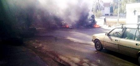 Blocage d'une route à Mdhilla
