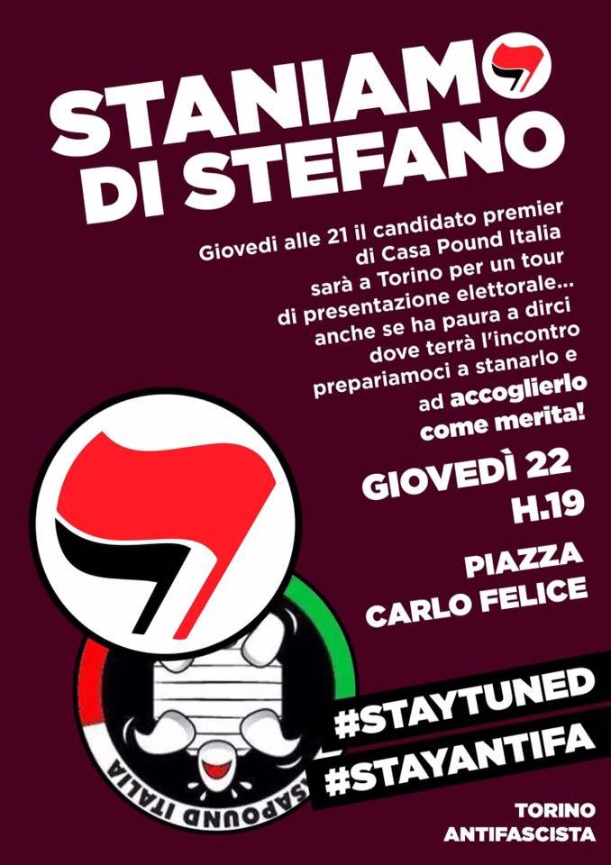 Manifestation antifa ce soir à Turin.
