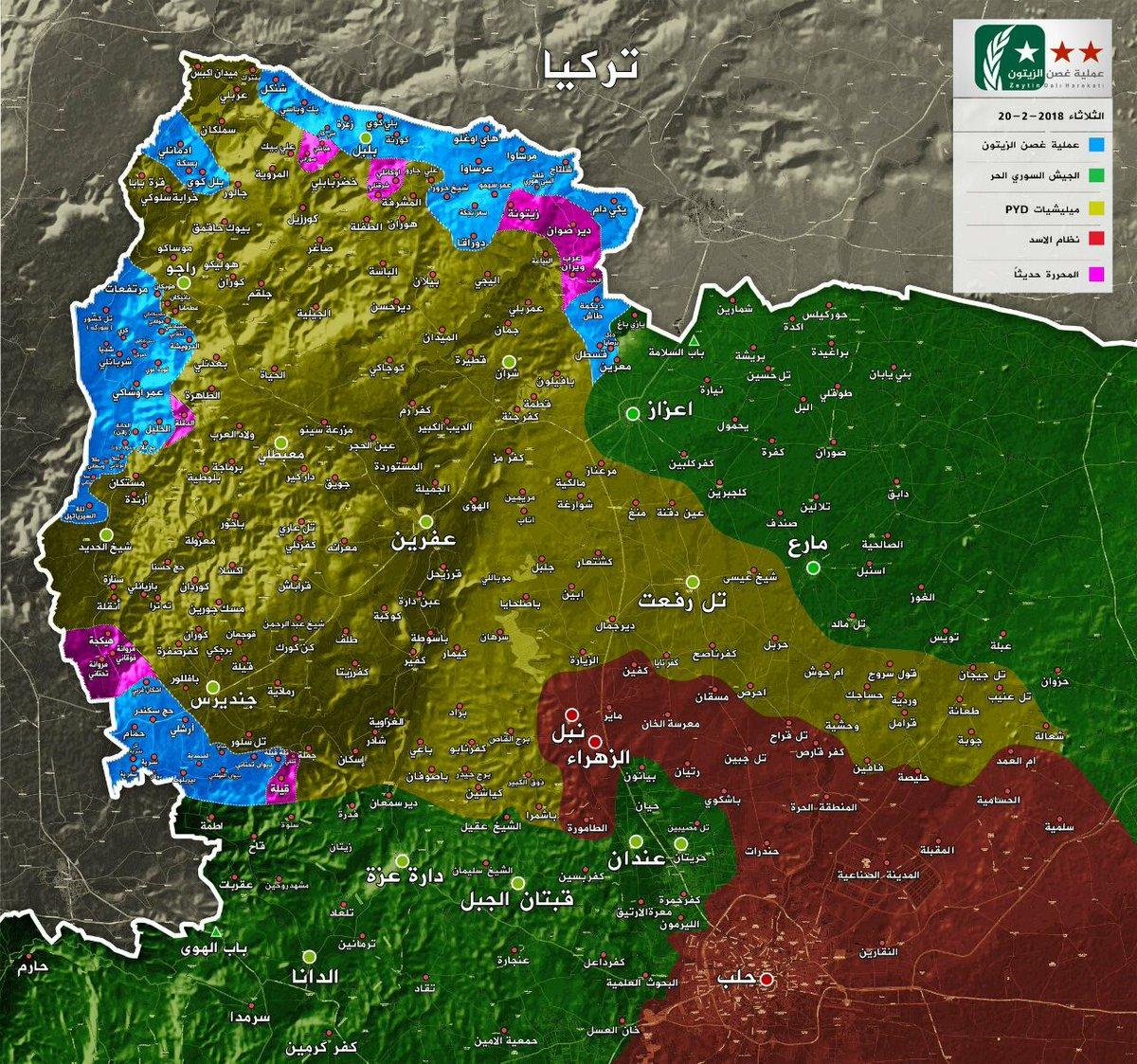 En bleu et rose, la zone d'occupation turque.