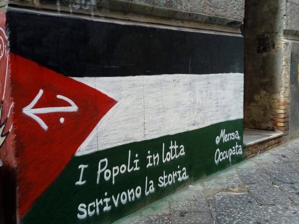 Une des nombreuses fresques de la Mensa Occupata à Naples.