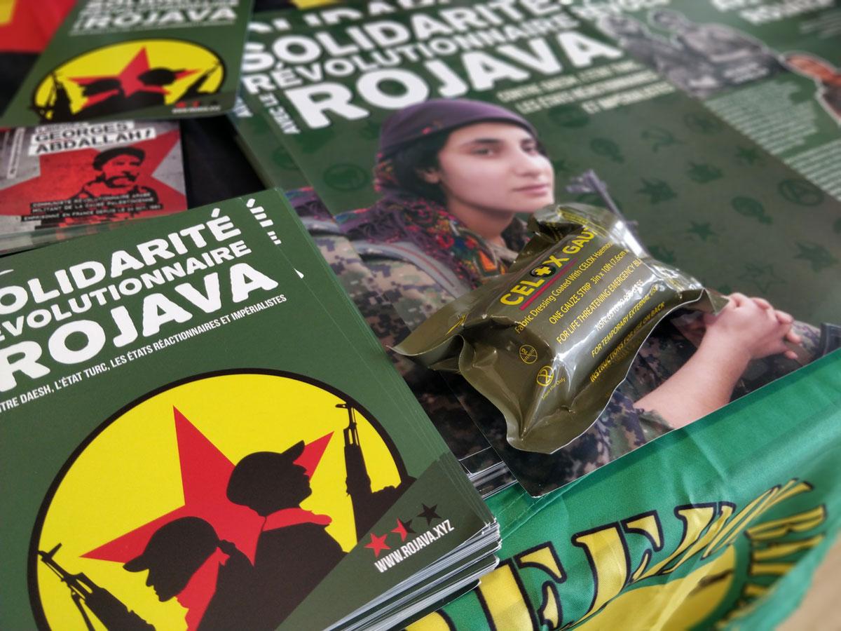 Stand de solidarité avec les internationalistes du Rojava